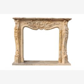 Pink marble mantel fireplace Baroque style fireplace framing fireplace mantels