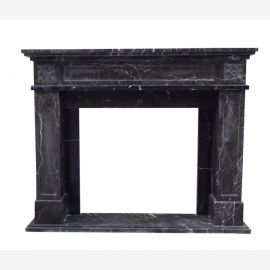 Fireplace facade of dark marble fireplace plain factually constructive form border colonial