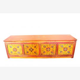 Small antique chest of drawers China in yellow approx 70 years