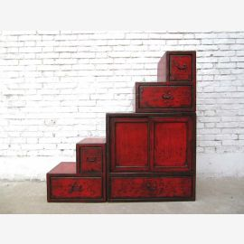 China small stairs brown dresser drawers on both sides openable under many slopes