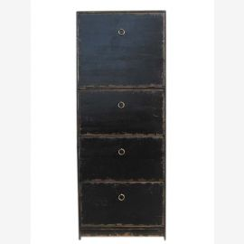 China high dresser drawer tower 4 drawers pine painted black