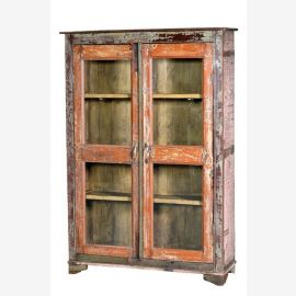India High glass shop display cabinet Dark wood with 3 shelves