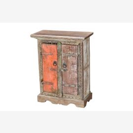 India individual bedside table from parts of old windows