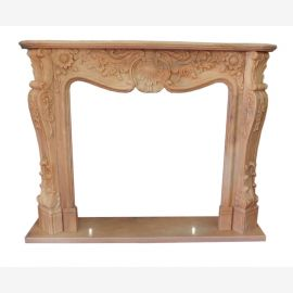 baroque brown marble fireplace sand camino stilo barocco 150x120cm ID heb 06