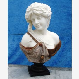 Sculpture female bust on pedestal white and brown marble Classic