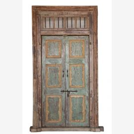 Multicolored wooden door with frame