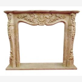 MARBLE FIREPLACE sand-colored edging 150x120cm Baroque Rococo Antique Style D Heb 13