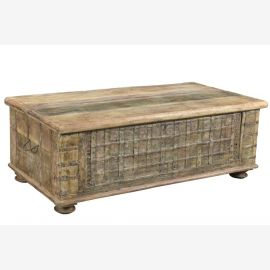 TEAK WOOD Chest India Original antique construction elements olive green