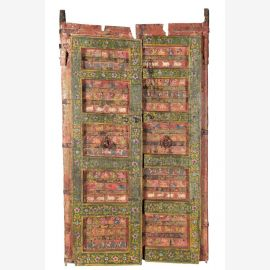 Ornately painted wooden door from Rajasthan