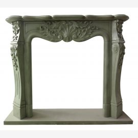 Gray, classic marble fireplace