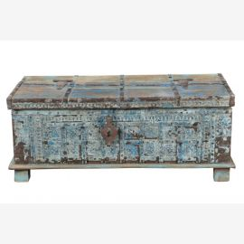 TEAK WOOD Chest India Blue Grey