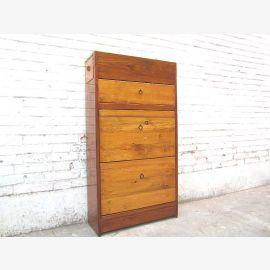 Asia shoe closet honey-colored drawers dark brown body Pine
