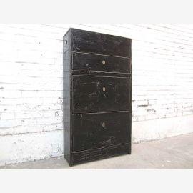 Asia corridor dresser Shoe cabinet black painted vintage wood signs of wear