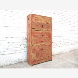 Asia Shoe cabinet shabby chic dirty pale red pine finish