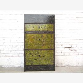 Asia corridor dresser shoe cabinet dirt green fronts heavy used vintage wood finish