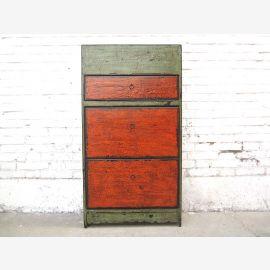 Asia corridor dresser shoe cabinet green body rust-red doors used look solid wood