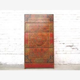 China Tibet colorful drawers Shoe cabinet vintage wooden ornate painting