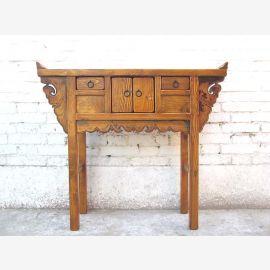 Asia ca 1915 dresser sideboard honey brown antique elm wood