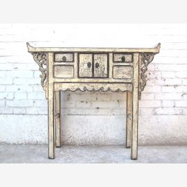 China hallway dresser table antique white 100 years old elm