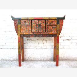 Asia dresser sideboard colorful painting 100 years elm wood