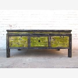 Dirt green Asian coffee table base shabby chic heavy used pine