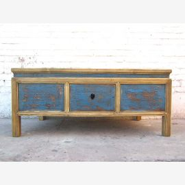 China coffee table base azure finish lighter body Pine