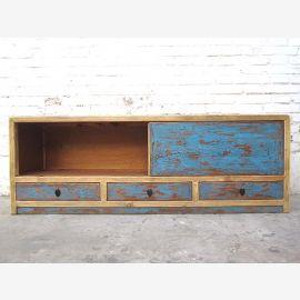 China Lowboard TV dresser bright frame blue doors Duotone