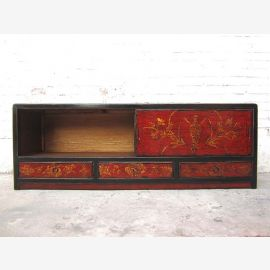 China Lowboard maroon golden painted antique finish vintage style pine