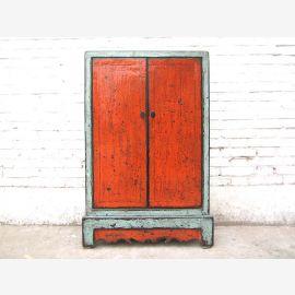 China slender half-height CD-dresser cabinet turquoise / orange pine