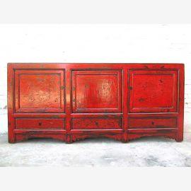 Asia large sideboard Chest reddish brown vintage finish pine