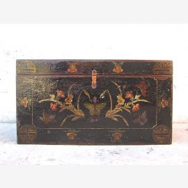 China Wedding Trunk  black magnificent painting Antique wooden