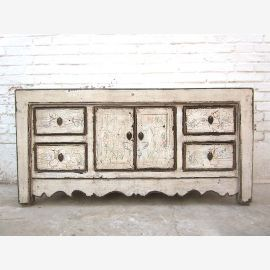 China small Lowboard Chest Antique White Vintage look pine