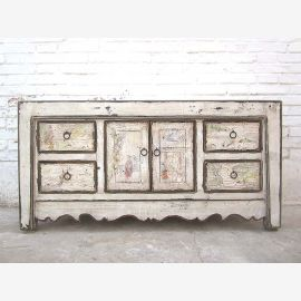 Asia small Lowboard TV dresser antique white shabby chic pine