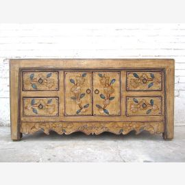 Asia small Lowboard TV dresser floral painting natural wood