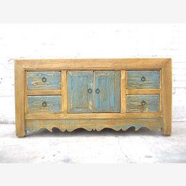 China small chest of drawers TV Lowboard light blue front with natural wood