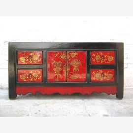 Asia dresser Lowboard dresser classic painting black red pine