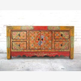 China colorfully painted Lowboard dresser folklore look pine