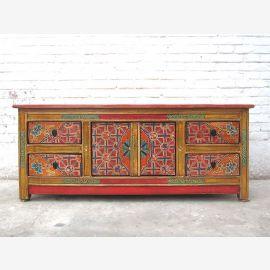 Asia TV dresser antique dresser Lowboard colorful folklore style pinewood