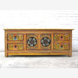 China TV 100j.Lowboard Chest Antique Yellow multicolor optic pine