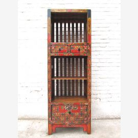 Asia slender shelf tower dresser brown colorful folklore style pinewood