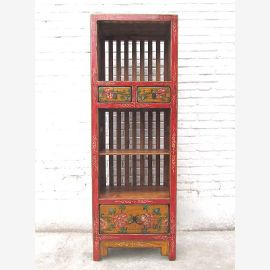 China narrow shelf tower rustic motifs on red-brown pine