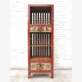 Asia rustic shelf tower bright motifs on red-brown pine