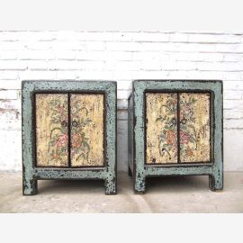 China commode pair of turquoise old white