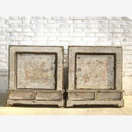 Mongolia two bedside tables Dressers pair Shabby Chic antique white wooden heavy signs