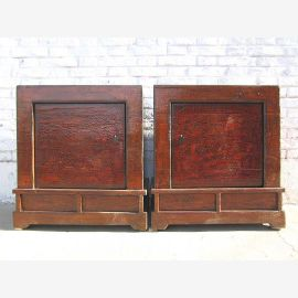 Mongolia two bedside tables Dressers pair classic maroon vintage look Solid wood