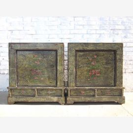 Mongolia two rustic night tables commode couple heavy vintage finish peasant painting