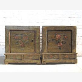 Mongolia two bedside tables Dressers pair used look dark vintage wooden floral painting