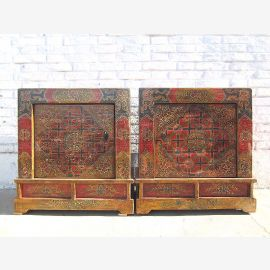 Mongolia Tibet two colorful night tables dressers couple great vintage painted hardwood