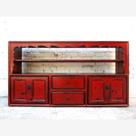 China Sideboard Shelves Dresser maroon antique pine 100 years