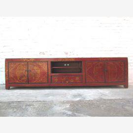 China wide Lowboard TV dresser dark brown pine